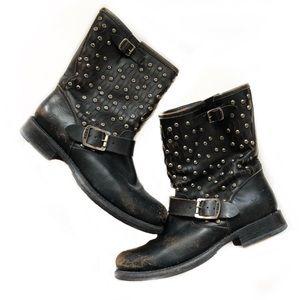 FRYE Jenna Studded Black Leather Boots Size 8.5